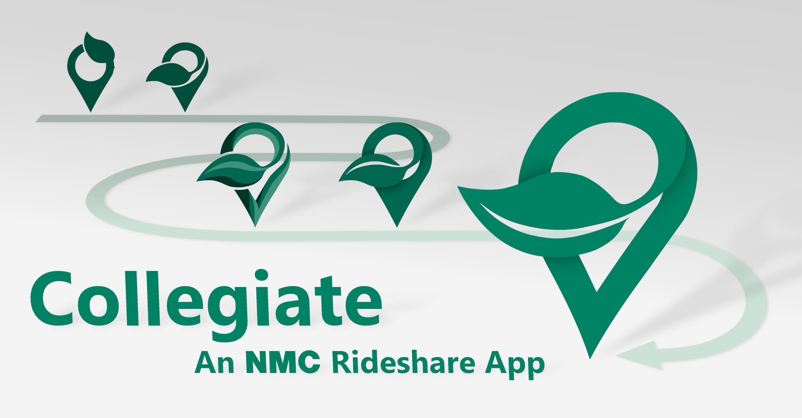 Depicts workflow for creation of a commissioned logo for the Northwestern Michigan College (NMC) rideshare app Collegiate.