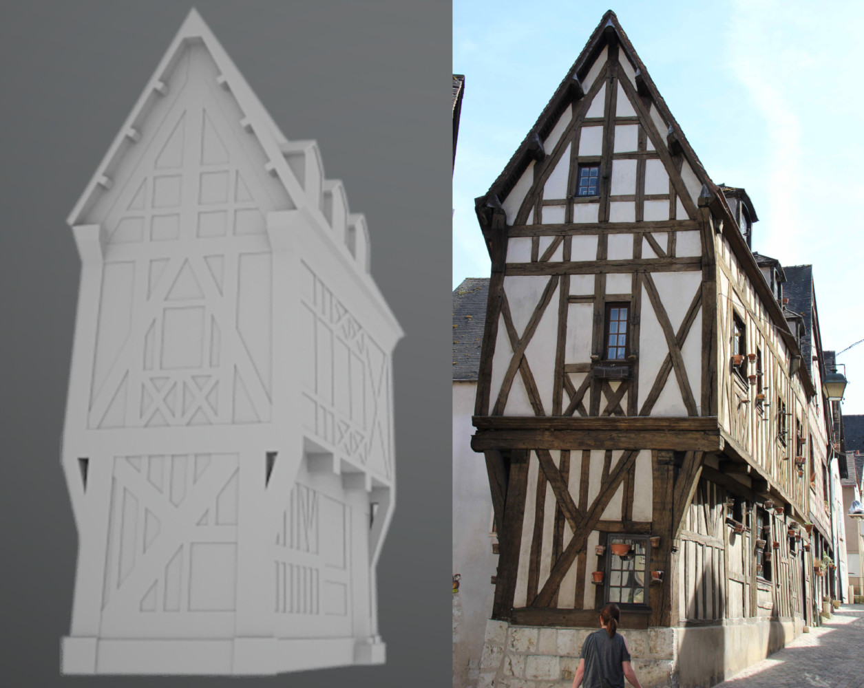 Workflow demonstrating the creation of a historical medieval european building model using digital 3D skills.